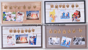 Moldura fotográfica clipes de madeira, decoração de paredes, artesanato em madeira, casa de recreio, decoração, Photo Frame Art
