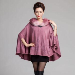 Fashion Fur Collar Hooded女性アクリルの編まれたショール岬(YKY4463)