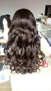 Qualidade feitas à mão para as mulheres de cabelo humano pleno Rendas Perucas