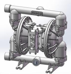 1-1/2 grand débit alimenté par l'air en aluminium double pompe à membrane