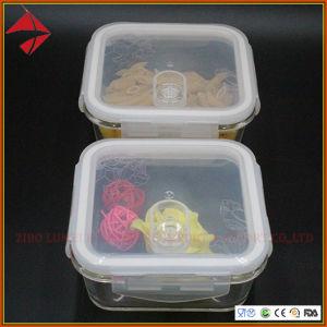 Quadratische 330ml 550ml 700ml nehmen hohe Borosilicat-Glasbehälter für Nahrung mit Silikon-Dichtung weg