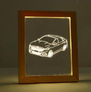 Deerhorn 3Dの額縁小さい夜ランプを飾る視覚ランプLEDの錯覚ランプのデスクトップ