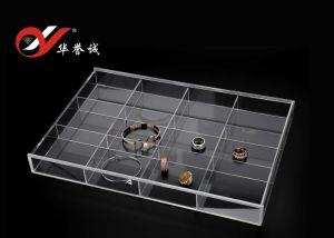 12 grades Retângulo jóias em acrílico transparente com tampa da caixa de exibição