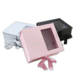 Пользовательские формы книги картон цветной печати букет подарочная упаковка с шелковые ленты и окна