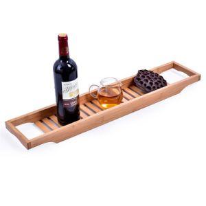 가로장 목욕탕 대를 가진 대나무 나무로 되는 욕조 Caddy 쟁반 목욕 Caddies 저장
