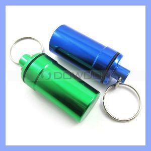 Mini wasserdichte Metalpille-Kasten-Halterung Keychain Pille-Flasche
