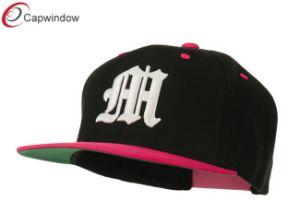 까만 분홍색 오래된 영국 M 3D에 의하여 수를 놓는 Snapback 모자