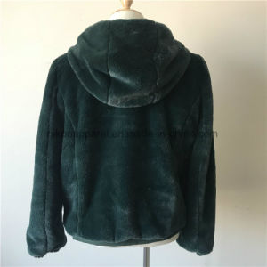 Cappotto di pelliccia personalizzato del Faux delle donne con Hoodie