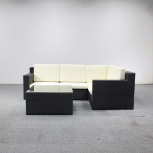 Jardim de alta qualidade Wicker sofá com mesa de Vidro