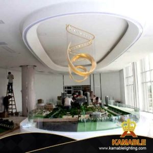 Hotel Lobby lustre de vidro grandes decorativa (KJ009)