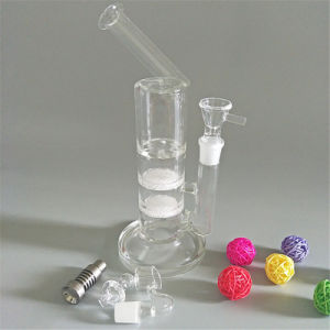 Tubo de alta calidad de la tubería de agua con dos disco Fritted Banger tazón de vidrio Sidecar Rig DAB uña (GB-444)