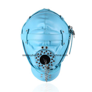 Dispositifs de retenue de bondage cuir synthétique bleu capot tete jouets sexuels pour l'esclave Cosplay jeu adulte