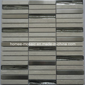 Mosaïque métallique mélangé avec de verre et pierre Mosaïque de matériaux de construction