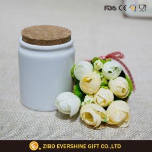 حارّ يبيع [3وز] مرطبان بيضاء خزفيّة مع غطاء خشبيّة
