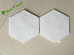 De  Hexagon Tegel van het Mozaïek van de Vloer Carrara Witte Marmeren 3