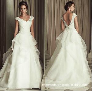 86b58ad12 2015 Boda romántica Organza vestido blanco con cuello en V una línea-Corte  de la boda vestido W1471955