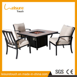 Patio de aluminio moderna Fire Pit Table Home Rattan silla de comedor Muebles de jardín al aire libre de mimbre Hotel