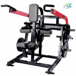 Un équipement de gymnastique chargé de la plaque assis DIP body building