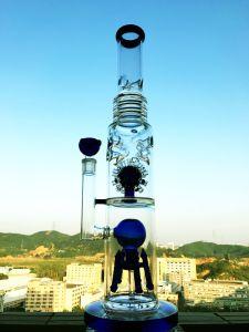 precio de fábrica China de setas de ducha de vidrio al por mayor de Perc Tubería de agua de alta calidad en color tabaco Recycler Tall Bowl artesanales de vidrio Tubos de vidrio de Cenicero embriagador vaso B
