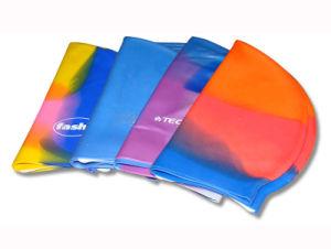 Logotipo flexível impermeável impresso adulto as toucas de natação em silicone macio