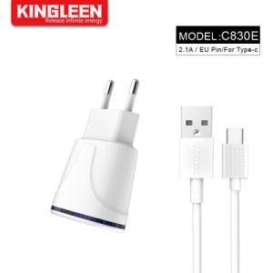 Ес пробку с двумя портами USB 2.1A настенное зарядное устройство для мобильных телефонов с Тип C