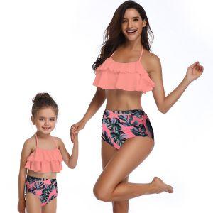 1a0f281082b5 O verão Amarelo Falbala Impressão Floral Bikini definir as mulheres Ruffle  dois pedaços de cintura elevada