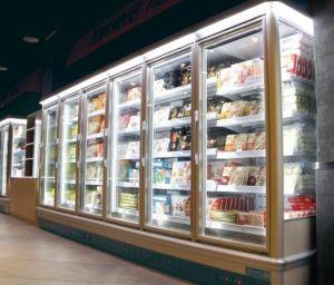 Supermercado en posición vertical la puerta de cristal de la pantalla Vertical congelador