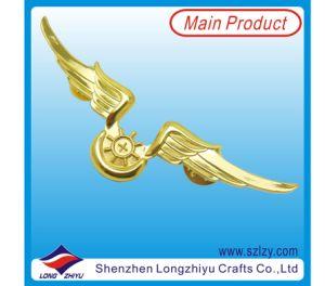 停止しなさい打たれた亜鉛翼の金の回転式折りえりPin (LZY-10000369)を