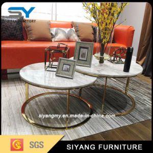 Hotel de duas camadas de mobiliário moderno de mesa em mármore mesa de café