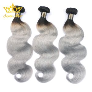 100 % Braizlian Remy Cheveux humains en 1b/Bundles de cheveux gris vierge