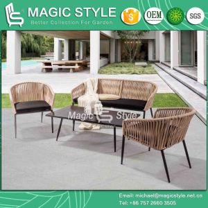 Jardim de tecelagem de bandagem sofá com fita Water-Proof Almofada Sofá mobiliário interior Mobiliário de exterior