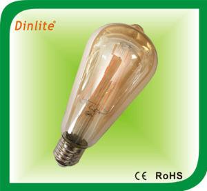 Mais de 30 anos de experiência de fábrica na cor âmbar Vintage Antique St64 E27 2W/4W/6W/8 W Edison lâmpada de filamento de LED com marcação CE/RoHS/ISO9001/SGS