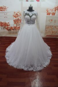 Appliques Long Sleeve O-Neck Real Photo Wedding Dress (WDZ54)