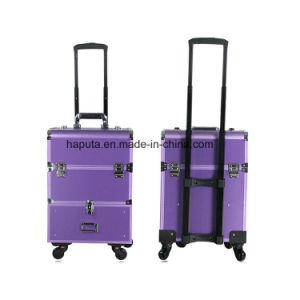 a90acbb74 Tren de Laminación de aluminio maquillaje cosmético equipaje Maletín  organizador de viajes Caja con cajones extraíbles de correderas, 4 ruedas  Universal ...