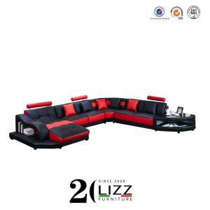 Salle de séjour canapé en cuir d'accueil moderne de coupe