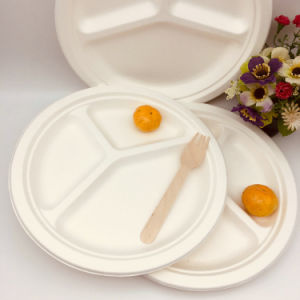 3 compartiments 9 pouces de la plaque de la bagasse de canne à sucre jetable biodégradable