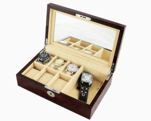Finition mate en bois brun Watch Display boîte cadeau de stockage