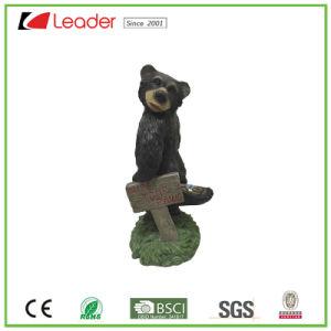 Top Ventas osos negros con jardín de flores de metal la estatua de resina para la decoración de Jardín Polyresin Ornmant