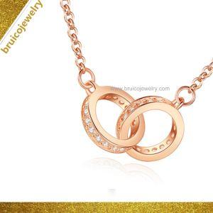 Fashion 18K 14K 9K Rose jóias de ouro de 925 Sterling Silver CZ Jóias Colar de diamantes para Senhoras
