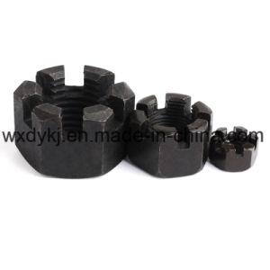 La norme DIN 935 Hex à six pans en acier noir fendu l'écrou crénelé