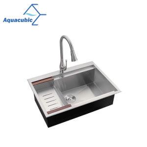 Aquacubic Cupc montaje superior la deserción en 18 hechos a mano de acero inoxidable de trocha Fregadero