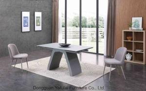 Venta caliente clásico Metal Cristal gris de extensión de la mesa de comedor