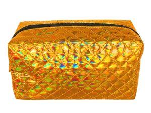 La mode à trois couleurs brillant maquillage cosmétiques, produits de toilette Sac de voyage avec le matelassage