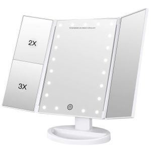 BSCI, Wca, Sqp 의 월마트 공장은 삼중 점화한 허영 메이크업 미러 21 LED 빛, 접촉 스크린 3X/2X/1X 확대 미러를 증명했다