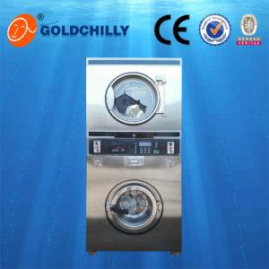 Rondelle symbolique de laverie automatique de service d'individu avec une machine plus sèche de blanchisserie