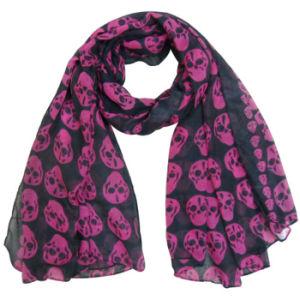 Fashion Skull Printed Polyester女性ボイルのばねの絹のスカーフ(YKY4225)