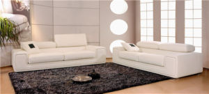Simples europeu moderno sofá de couro branco com cabeça ajustável (HC6051)