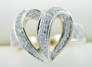 anello di oro giallo 10K con il diamante (LRG1166)