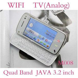 Telefono doppio delle cellule della tastiera Qwerty TV della fascia SIM del quadrato di WiFi JAVA (CXD-M008)