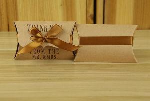 Het Vakje van het Hoofdkussen van kraftpapier, het Vakje van het Suikergoed van het Document van Kraftpapier, het Vakje van de Verpakking van de Gift van de Gunsten van het Huwelijk, Zakken van de Gift van Kerstmis de Huidige